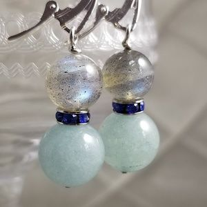 Jewelry - Labradorite & Aquamarine Gemstone Earrings
